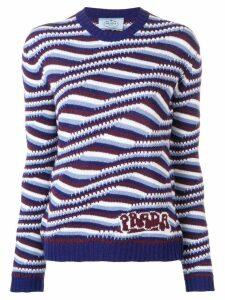 Prada cashmere geometric stripes sweater - Blue