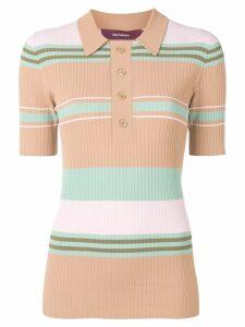 Sies Marjan striped rib knit polo shirt - Neutrals