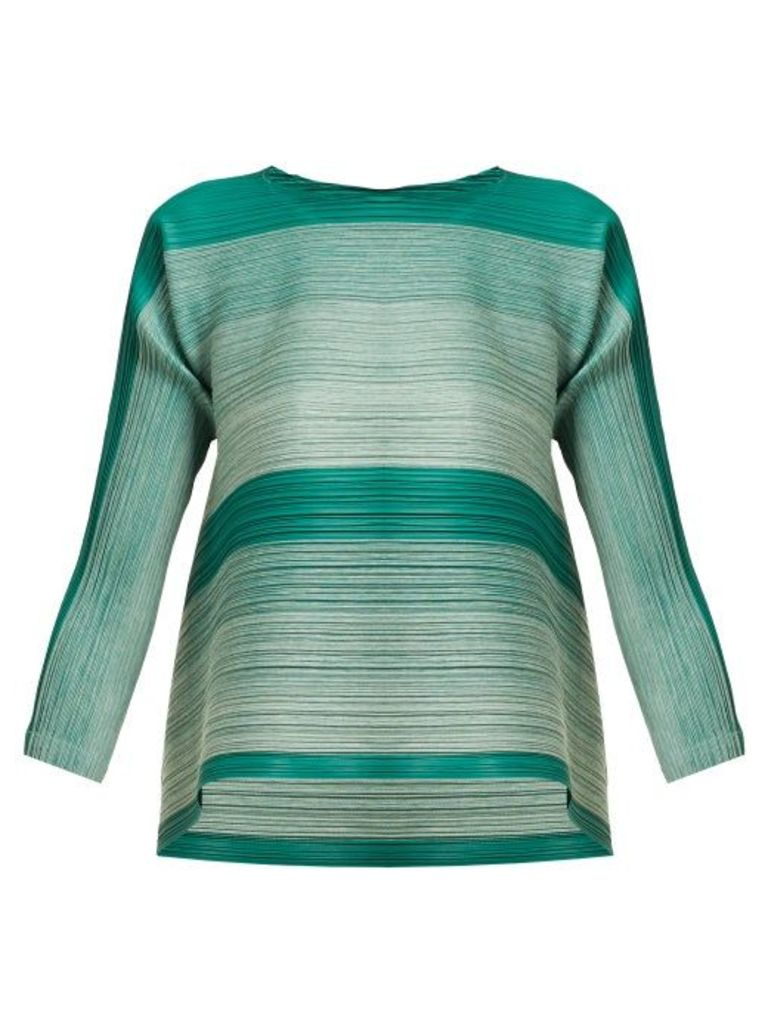 Pleats Please Issey Miyake - Log Bounce Striped Tech Pleated Tunic Top - Womens - Green