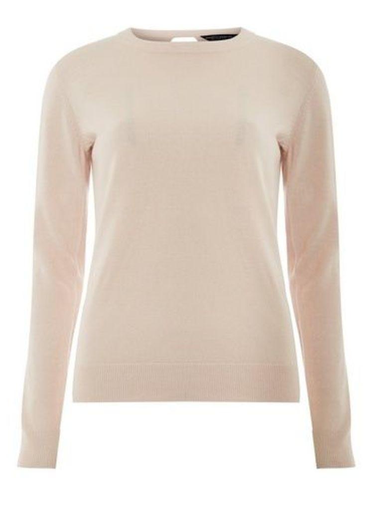 Womens Blush Soft Wrap Back Jumper- Pink, Pink