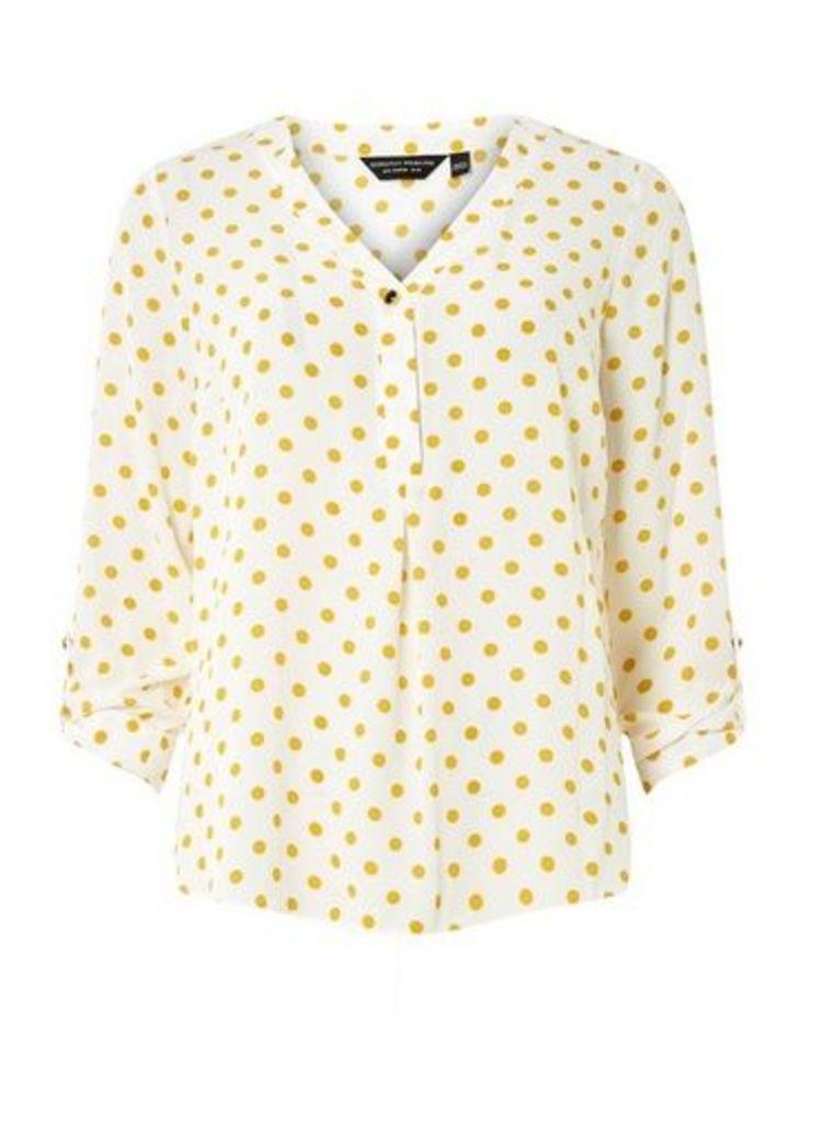 Womens Yellow Spot Roll Sleeve Shirt- Orange, Orange