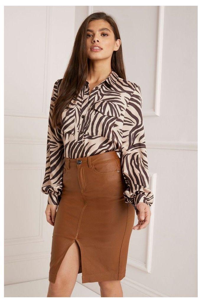 Lipsy Coated Denim Pencil Skirt - 16 - Brown