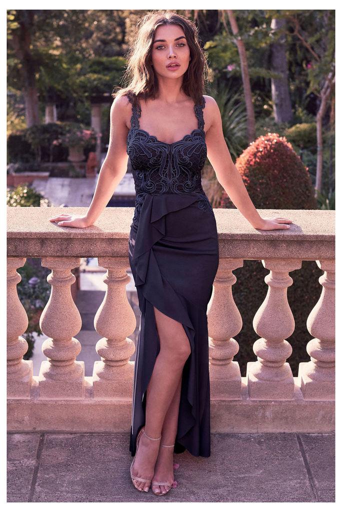 Lipsy Petite VIP Frill Skirt Maxi Dress - 10 - Blue