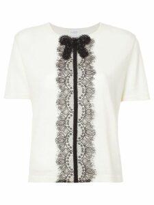 Giambattista Valli lace detail knitted top - Neutrals