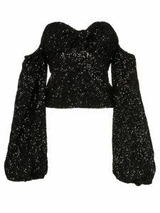 Attico sequin puff-sleeve top - Black