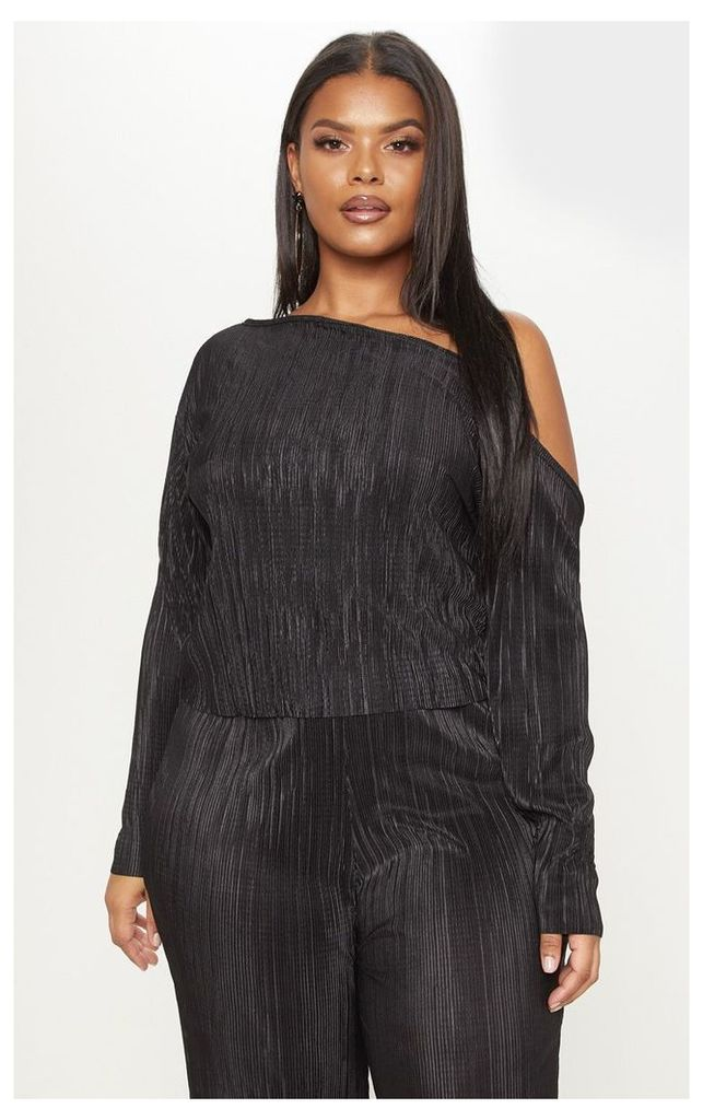 Plus Black Plisse Off Shoulder Top, Black