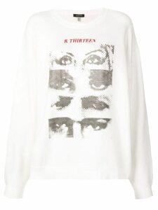 R13 eye print sweatshirt - White