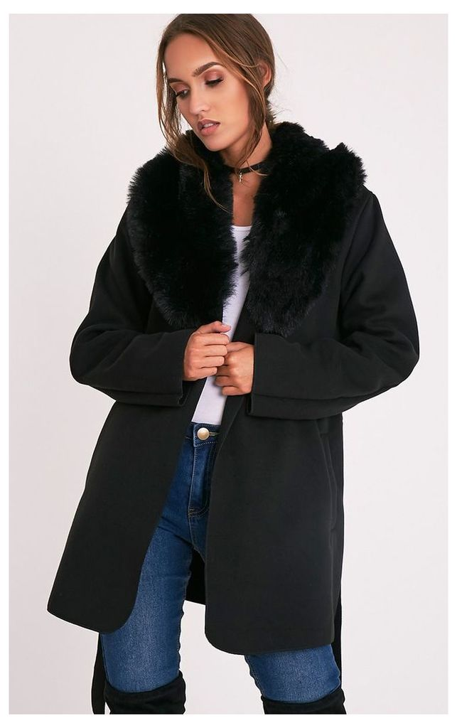 Lydia Black Faux Fur Trimmed Belted Coat, Black