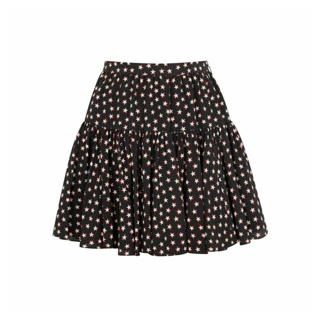 Saint Laurent Black Star-print Silk Skirt