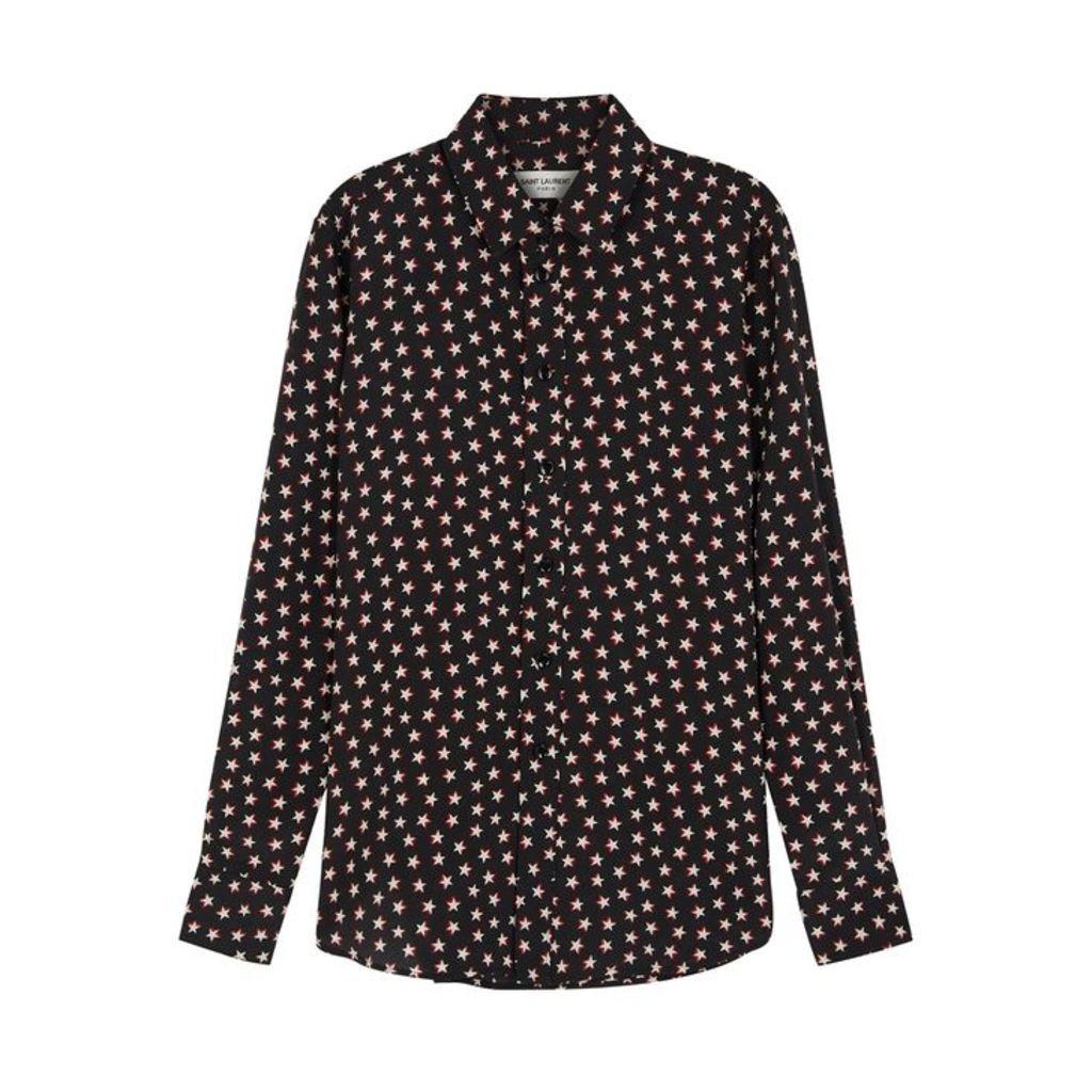Saint Laurent Black Star-print Silk Shirt