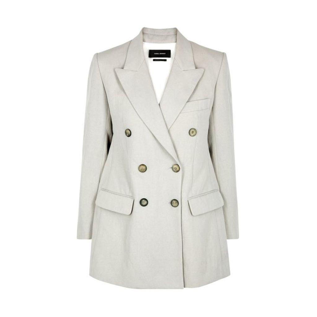 Isabel Marant Kleigh Pale Grey Cotton-blend Blazer