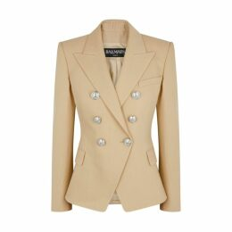 Balmain Sand Double-breasted Wool Blazer