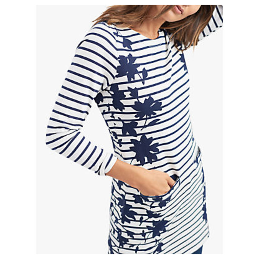 Joules Quinn Long Sleeve Floral Stripe Tunic Dress, Navy