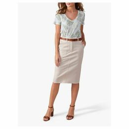 Pure Collection Chino Pencil Skirts, Soft Stone