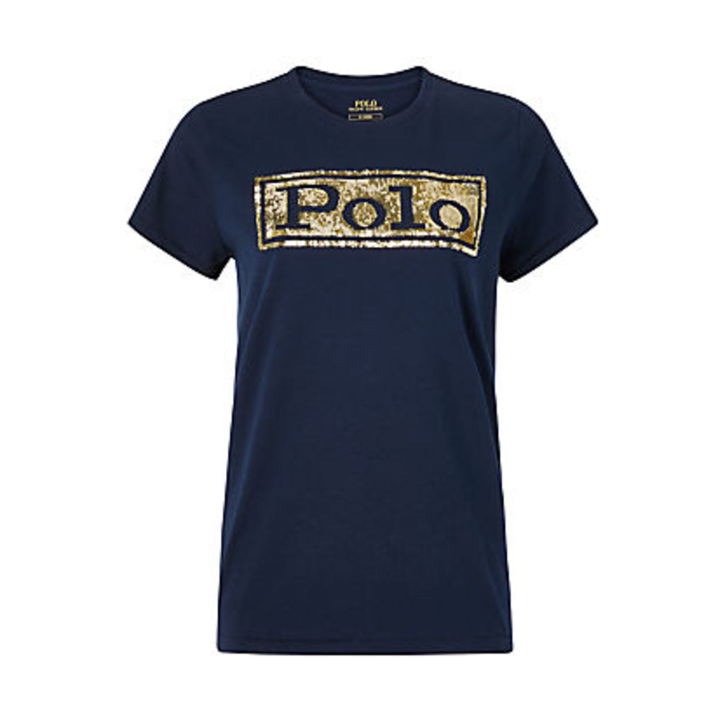 Polo Ralph Lauren Sequin Logo T-Shirt, Cruise Navy
