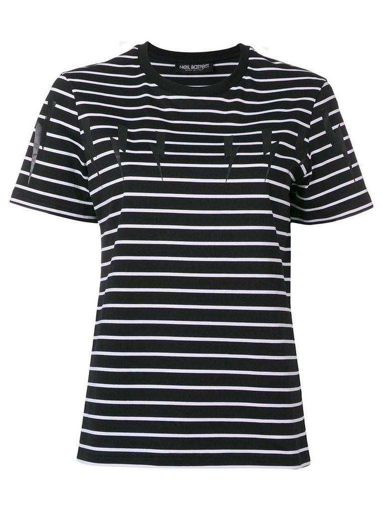Neil Barrett striped thunderbolt T-shirt - Black