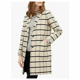Jaeger Checked Linen Blend Coat, Ivory