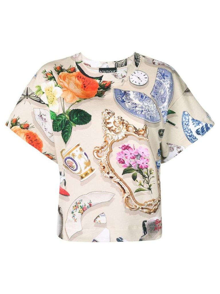 Boutique Moschino printed T-shirt - Neutrals