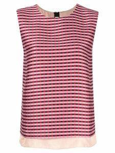 Marni check stripe T-shirt - Red