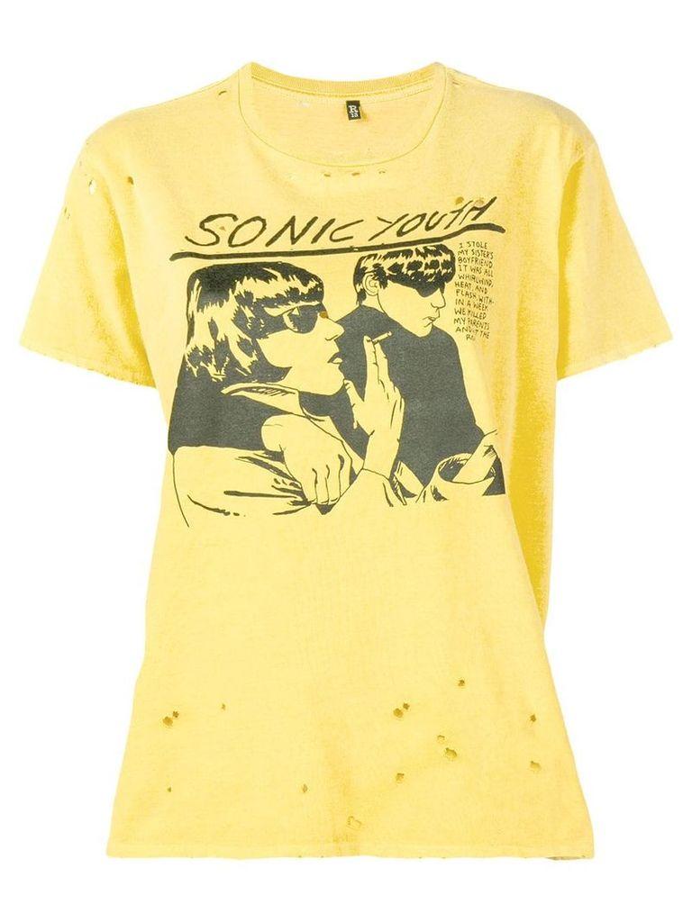 R13 Sonic Youth print T-shirt - Yellow