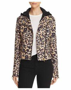 Aqua Leopard Faux Suede Moto Jacket - 100% Exclusive