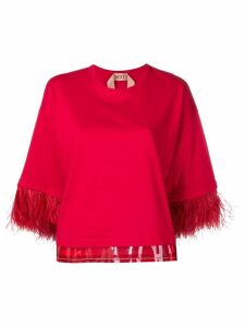 Nº21 feather trim top - Red