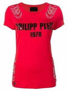 Philipp Plein logo chain detail T-shirt - Red