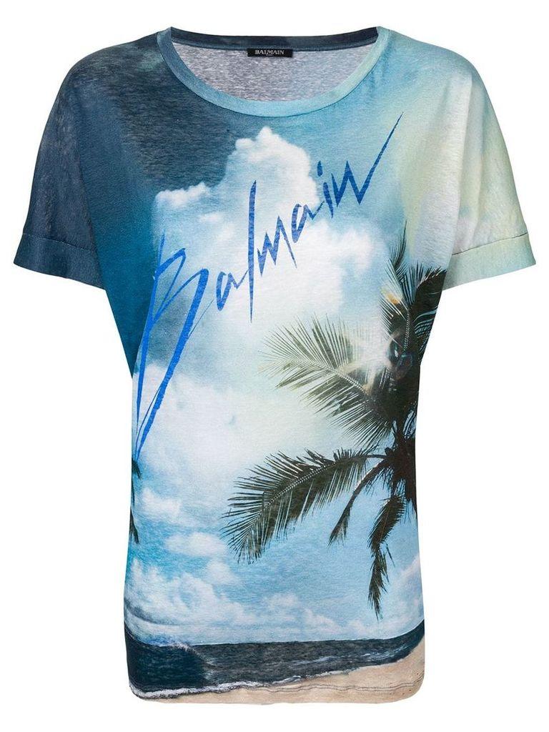 Balmain Linen T-shirt with Balmain logo print - Blue