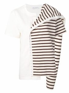 JW Anderson contrast panel striped top - Brown