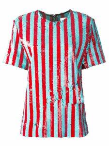 Halpern sequinned short sleeved top - Blue