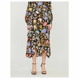Floral-print asymmetric crepe midi skirt