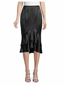 Ruffled Silk Pencil Skirt