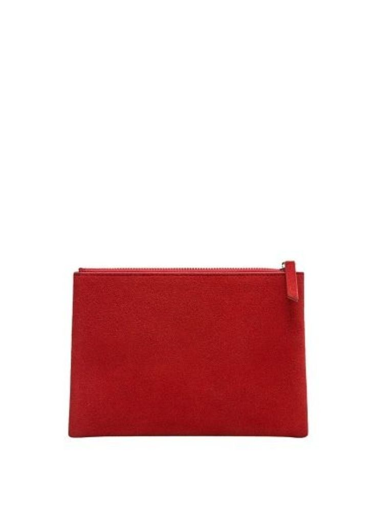 Zipped leather cosmetic bag