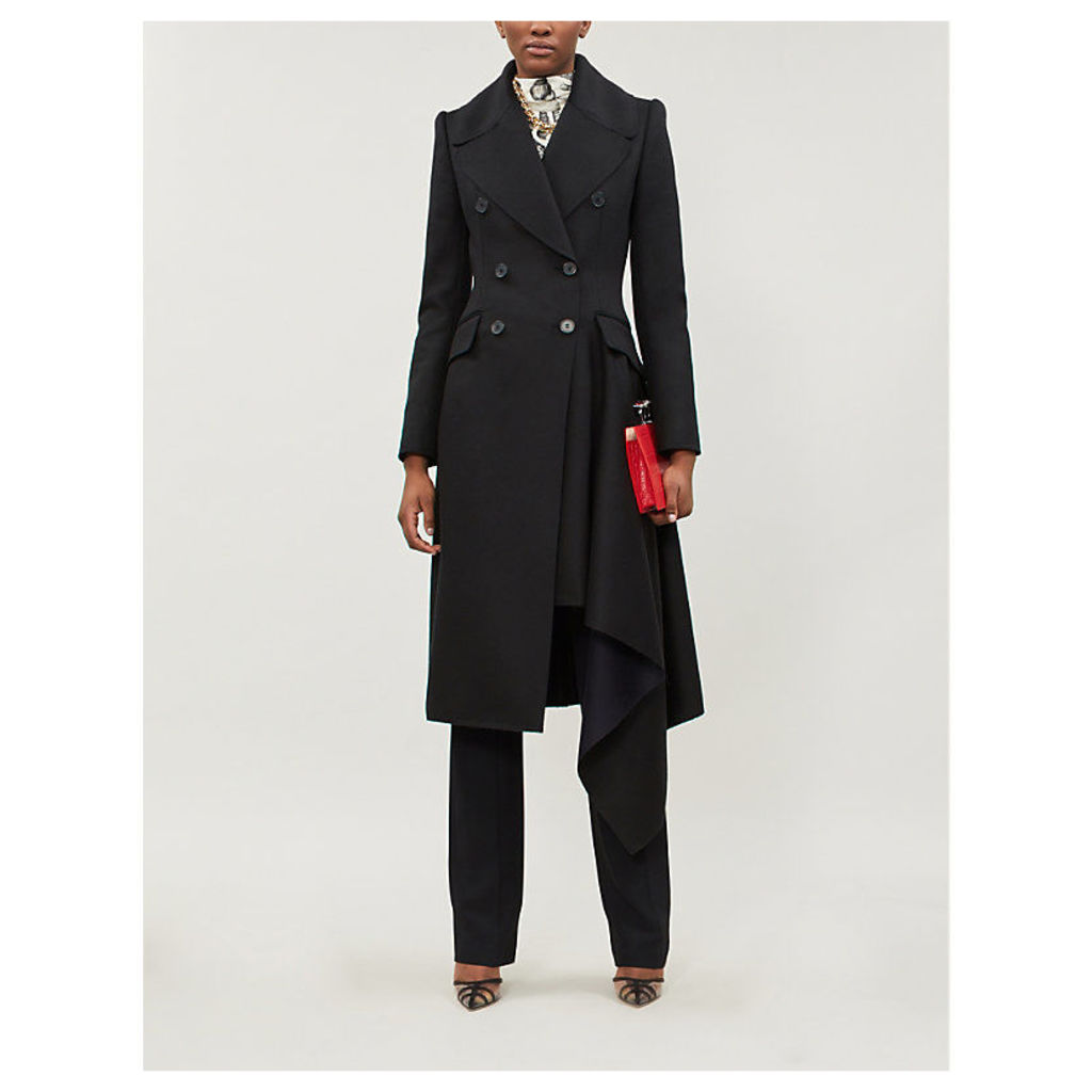 Asymmetric wool and cashmere-blend felt coat
