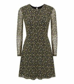 Petite Black Floral Long Sleeve Mesh Dress New Look