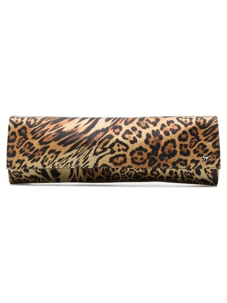 Giuseppe Zanotti leopard-print satin clutch - Brown