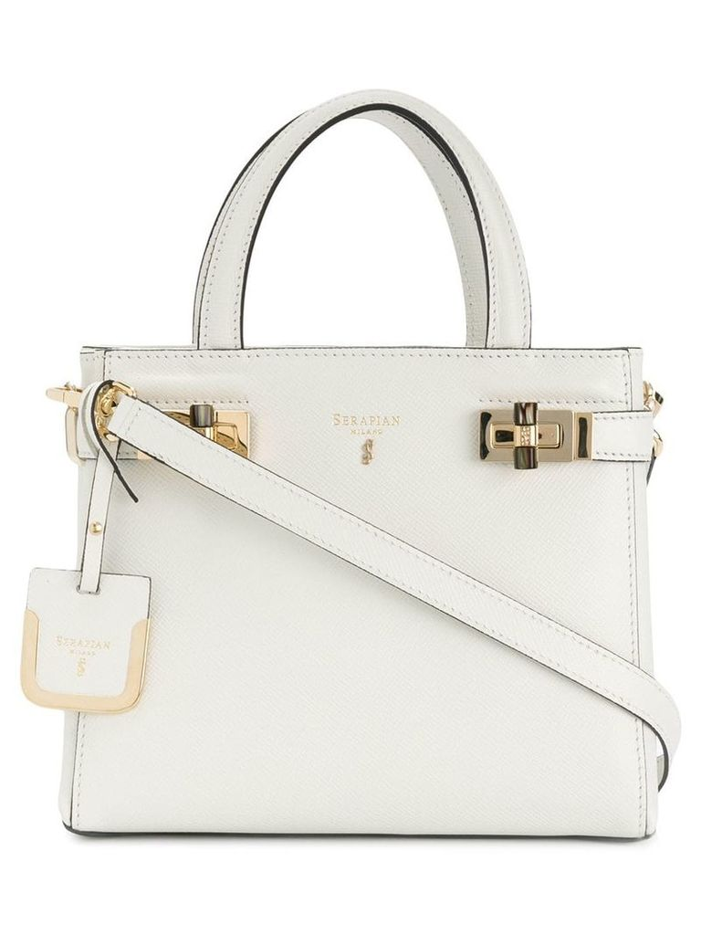 Serapian small top handle tote bag - White