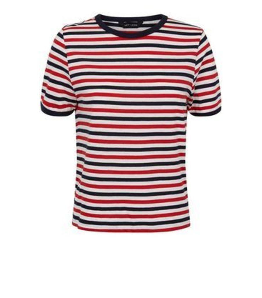 Red Multi Stripe Ringer T-Shirt New Look