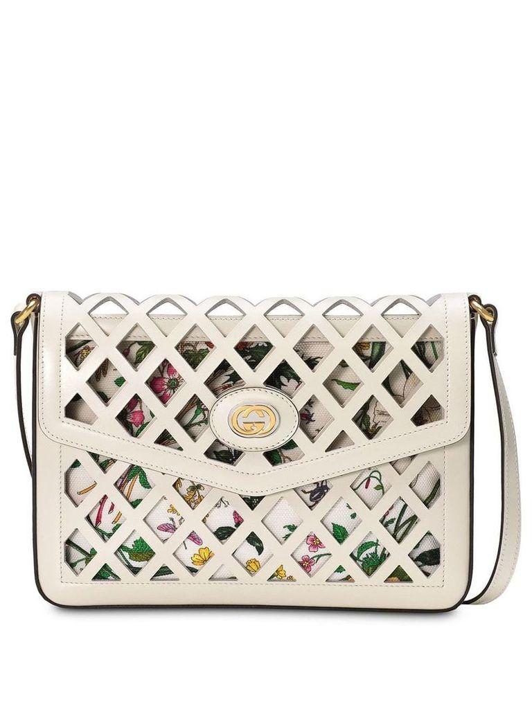 Gucci Medium cutout leather shoulder bag - White