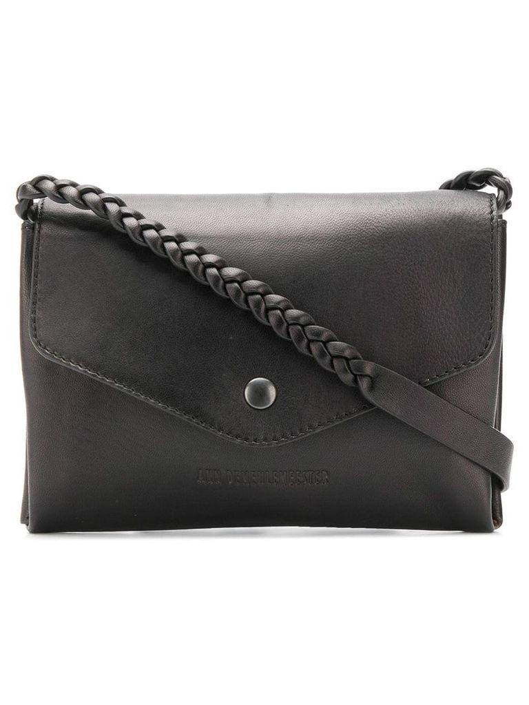 Ann Demeulemeester braided strap shoulder bag - Black