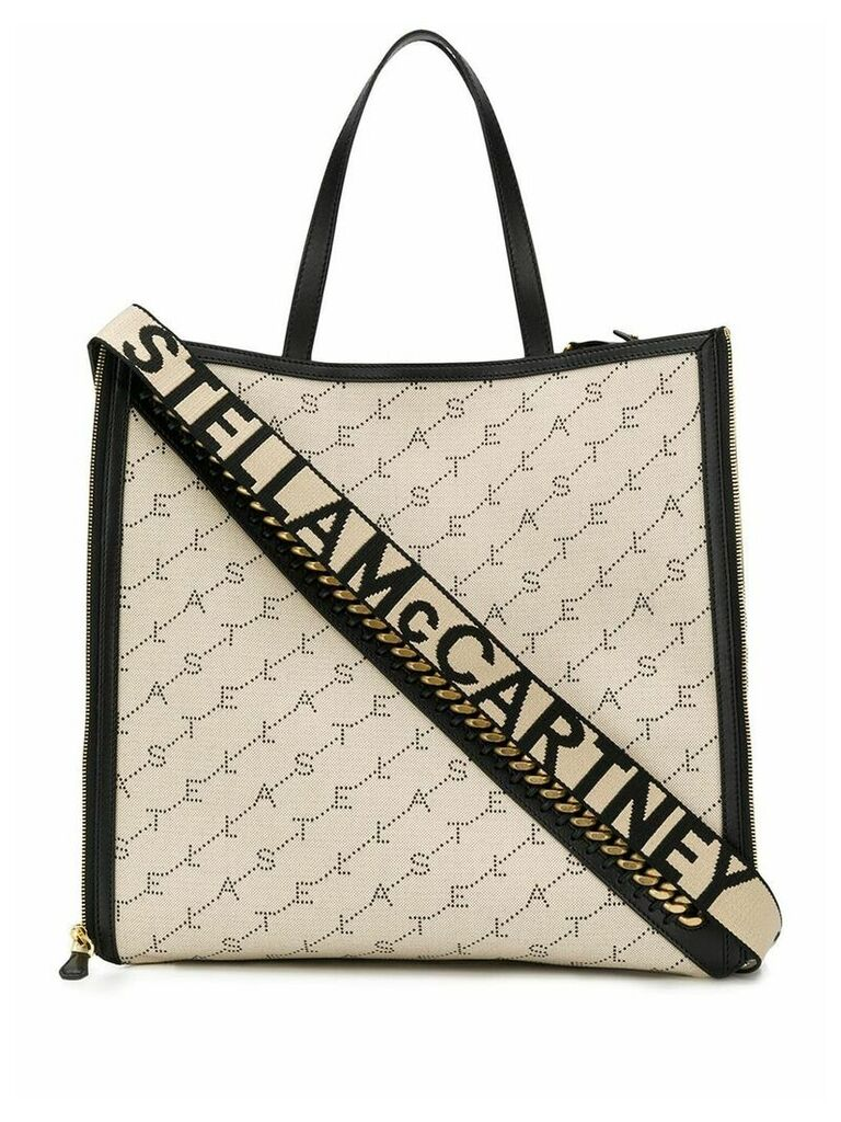 Stella McCartney chain detail monogram tote - Neutrals