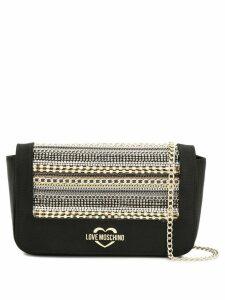 Love Moschino crystal embellished crossbody bag - Black