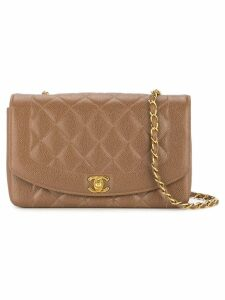 Chanel Pre-Owned Diana quilted CC logos chain shoulder bag - Brown