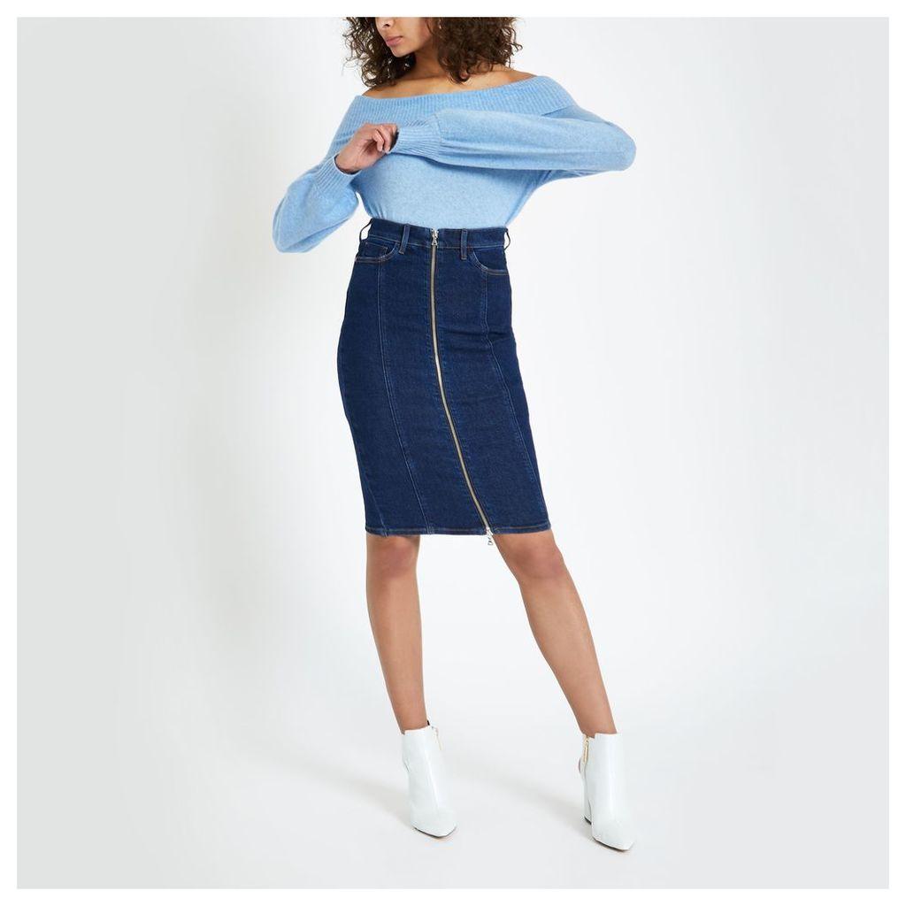 Womens Dark Blue zip through denim pencil skirt