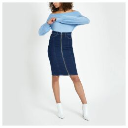 Womens Dark Blue zip through denim pencil skirt