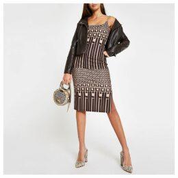 Womens Brown RI monogram bodycon midi dress