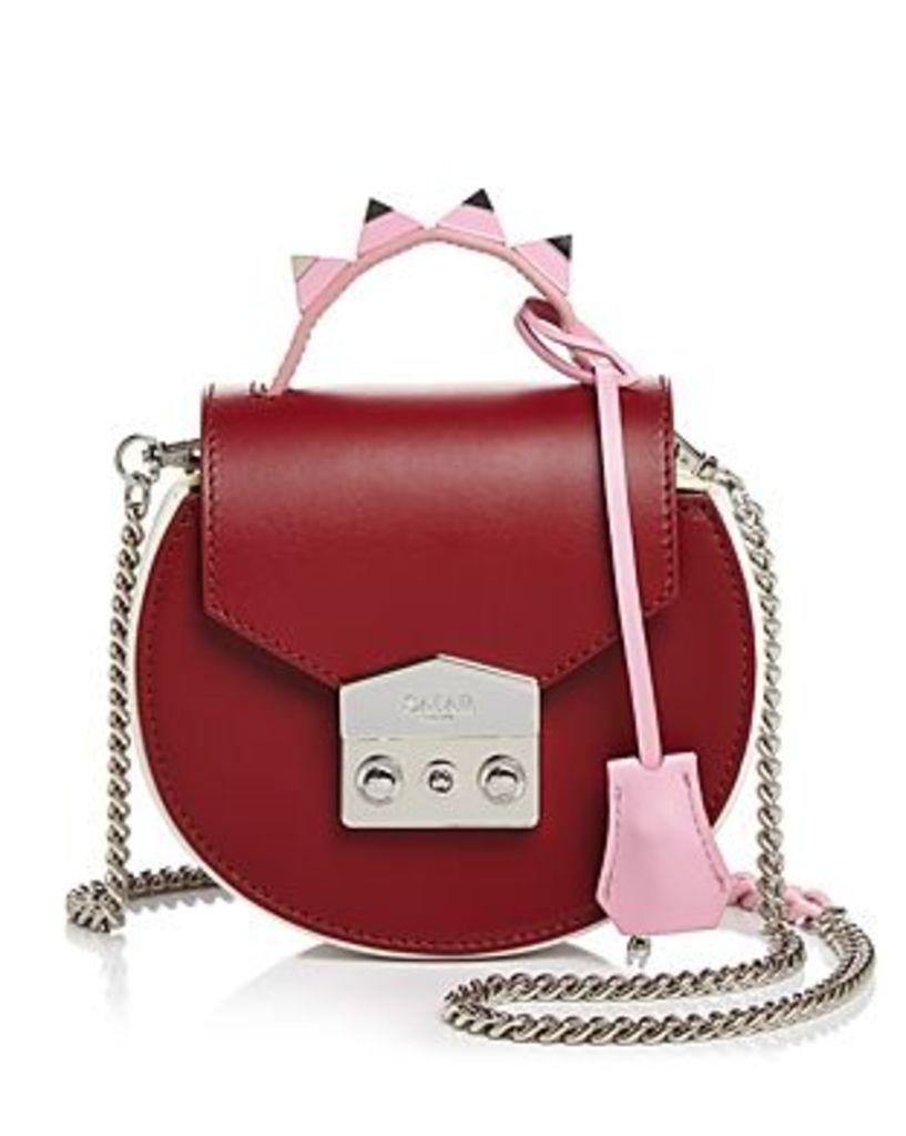 Salar Carol Color-Block Leather Circle Shoulder Bag
