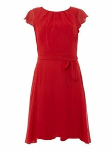 Womens **Billie & Blossom Tall Red Angel Sleeve Skater Dress- Red, Red