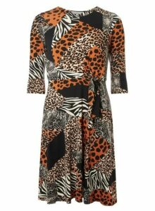 Womens Petite Orange Animal Print Jersey Dress- Orange., Orange