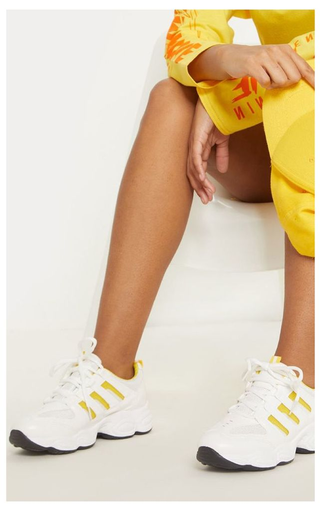Yellow Cut Out Panel Lace Up Trainer, Yellow